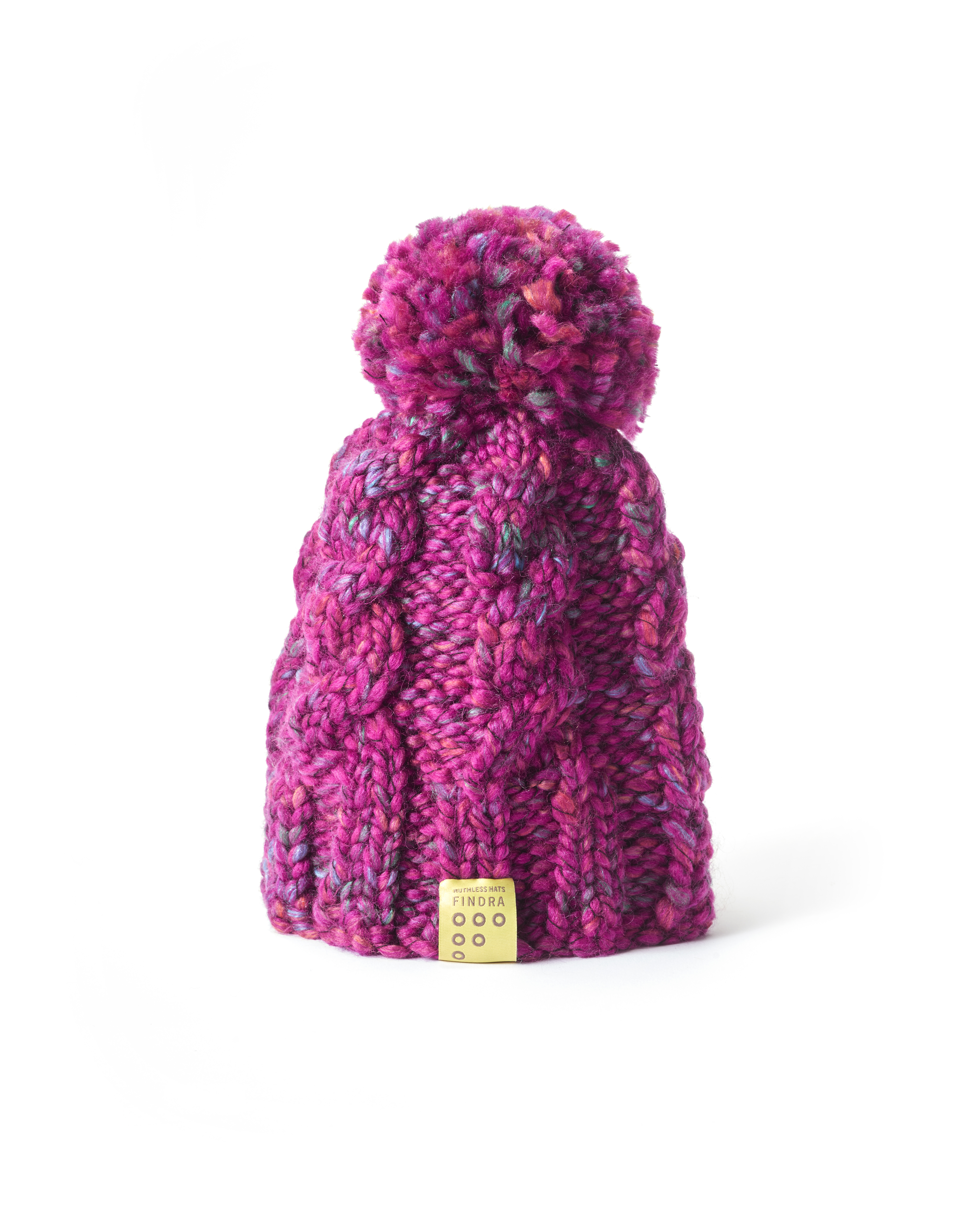 Bobble hat in Winter Rose, £35, FINDRA