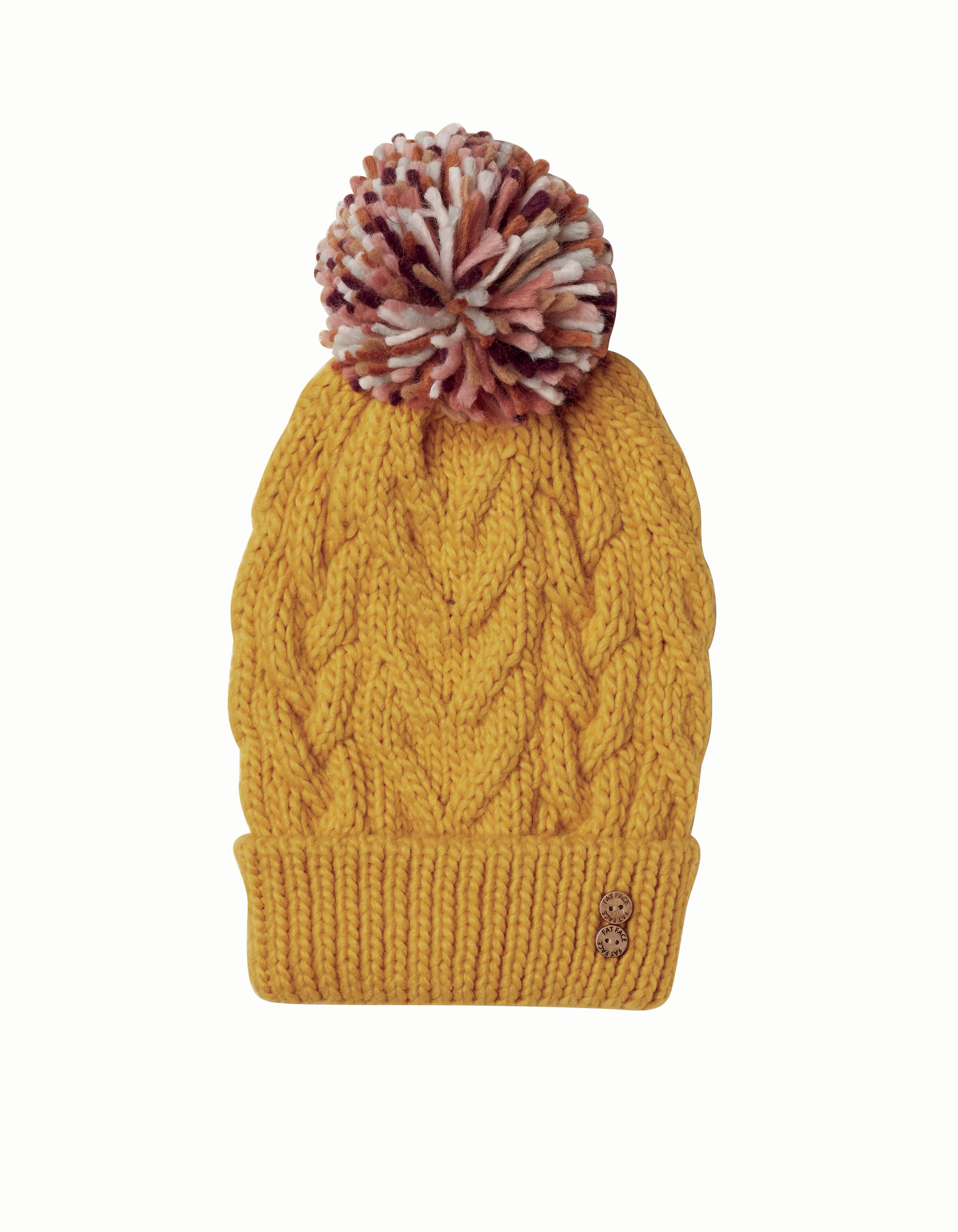Mustard knitted pom beanie, £18, FatFace