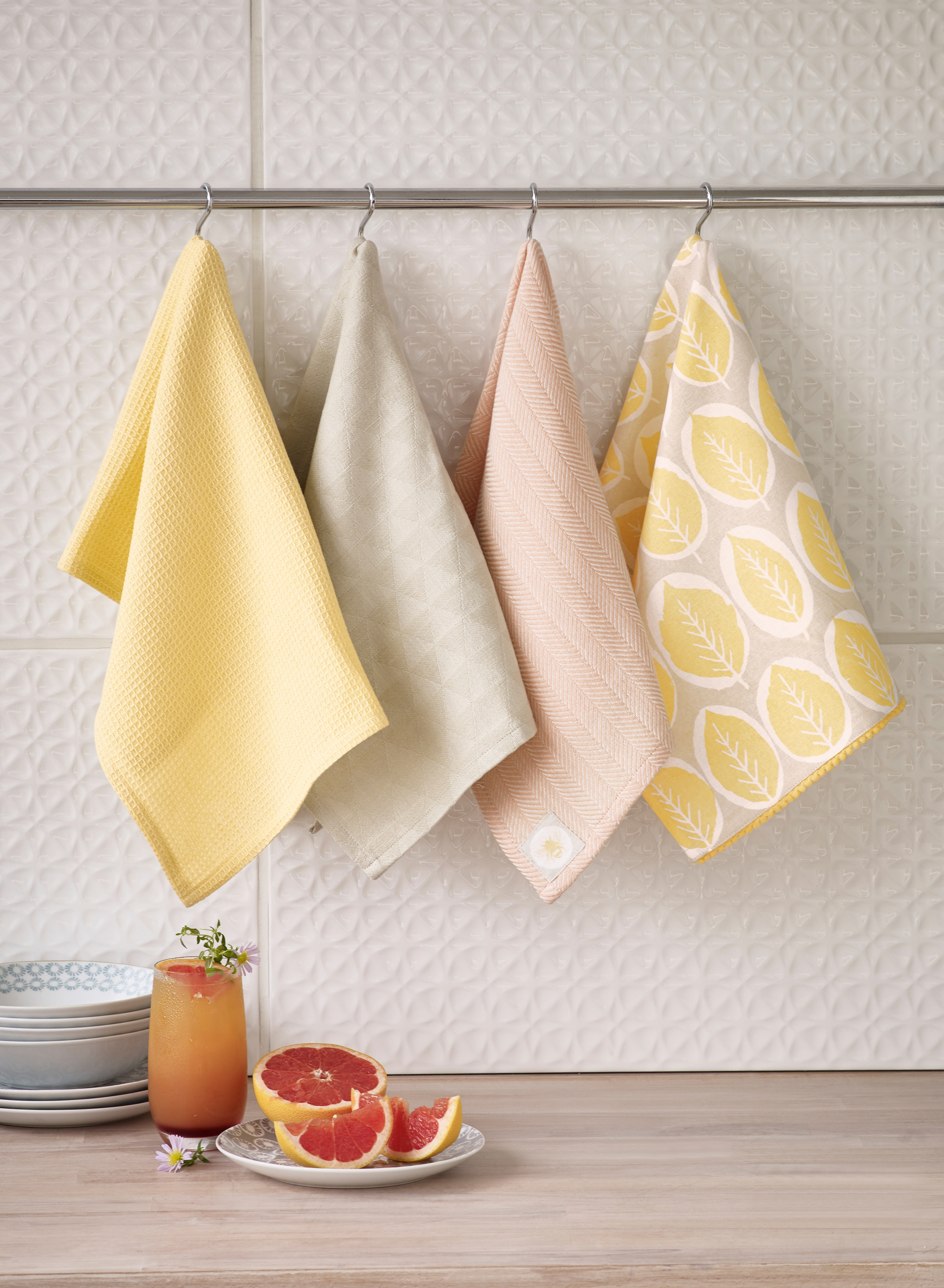 Pastel patterned tea towels, NEXT