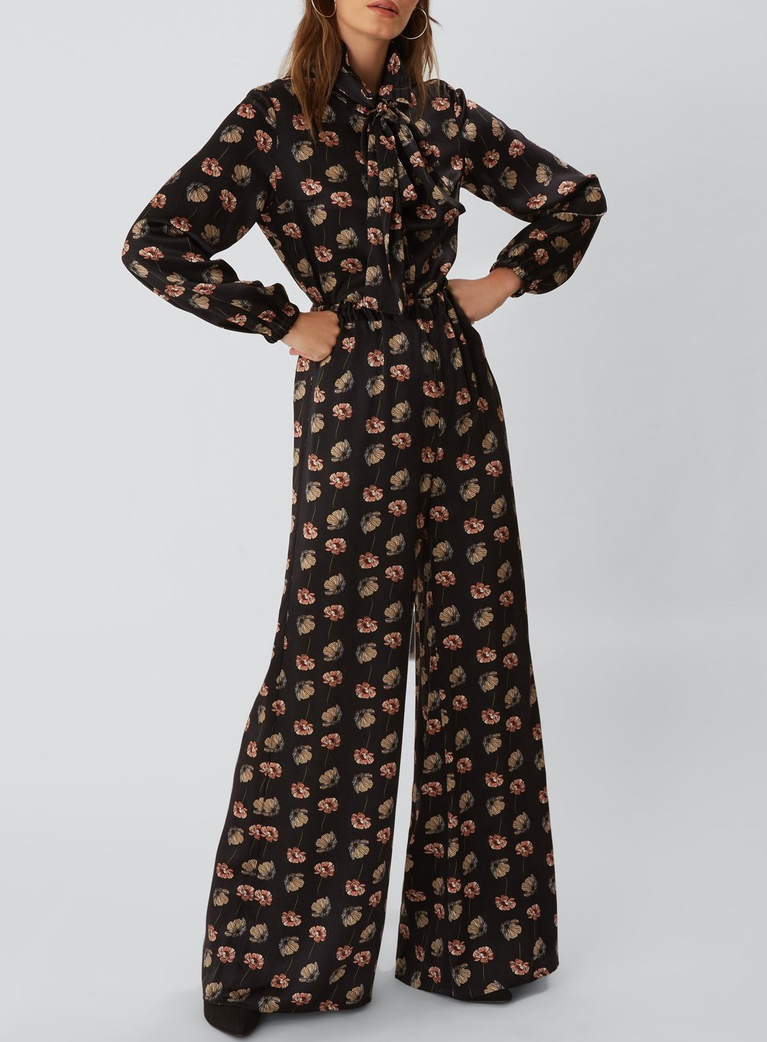 PEGGY wide leg palazzo trouser black poppy, £250