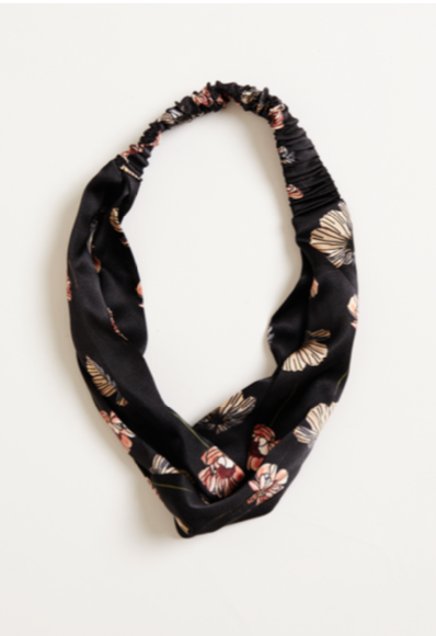 ANGELA silk twisted headband in black poppy, £35