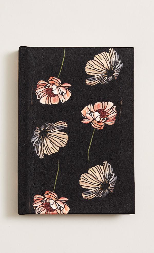 Silk A5 Notebook in black poppy print, £20