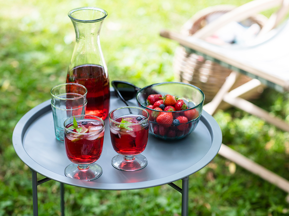 Cocktail stand and glass set, from £30, Garden Trading