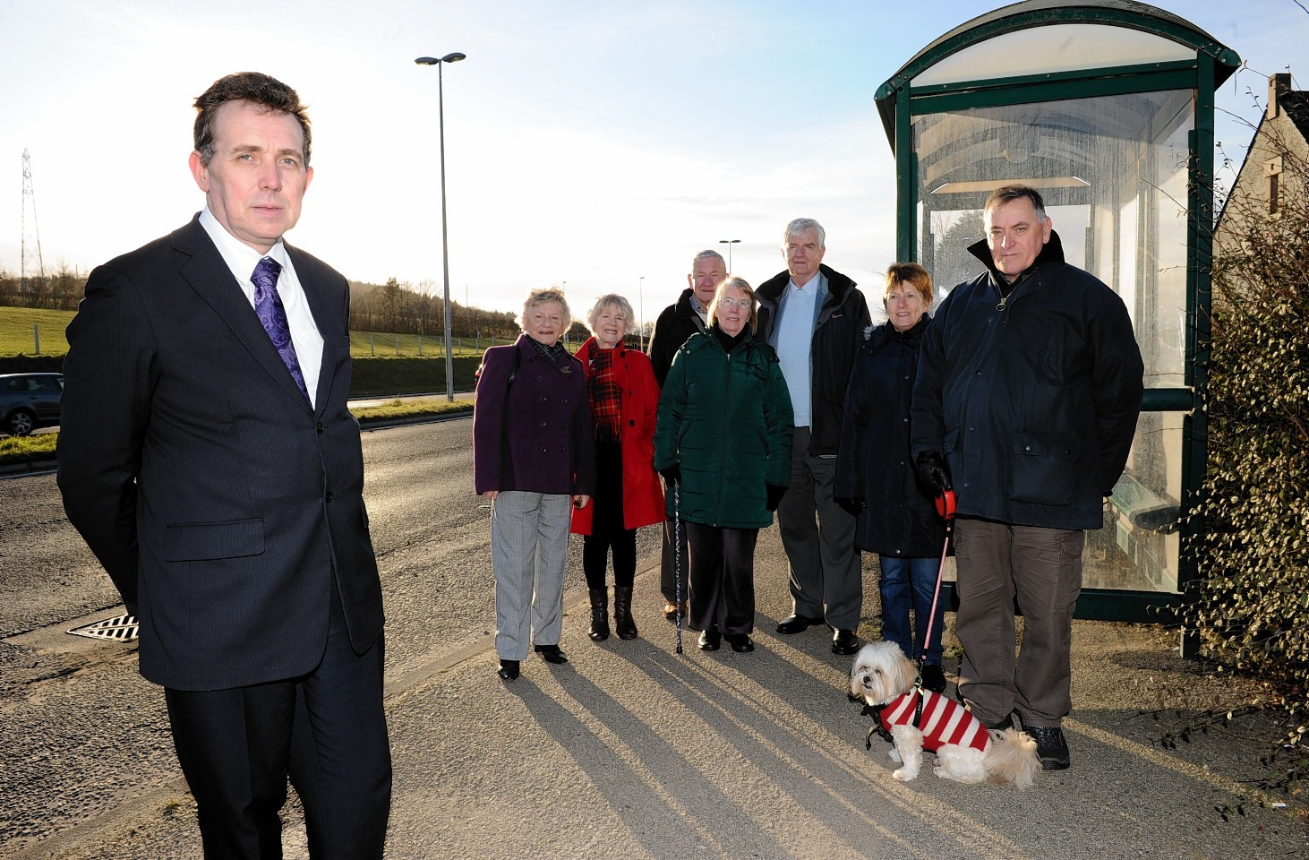 Councillor Steve Delaney with residents of Kingswells who are angry at the removal of the bus stop on the A944 at Kingswells