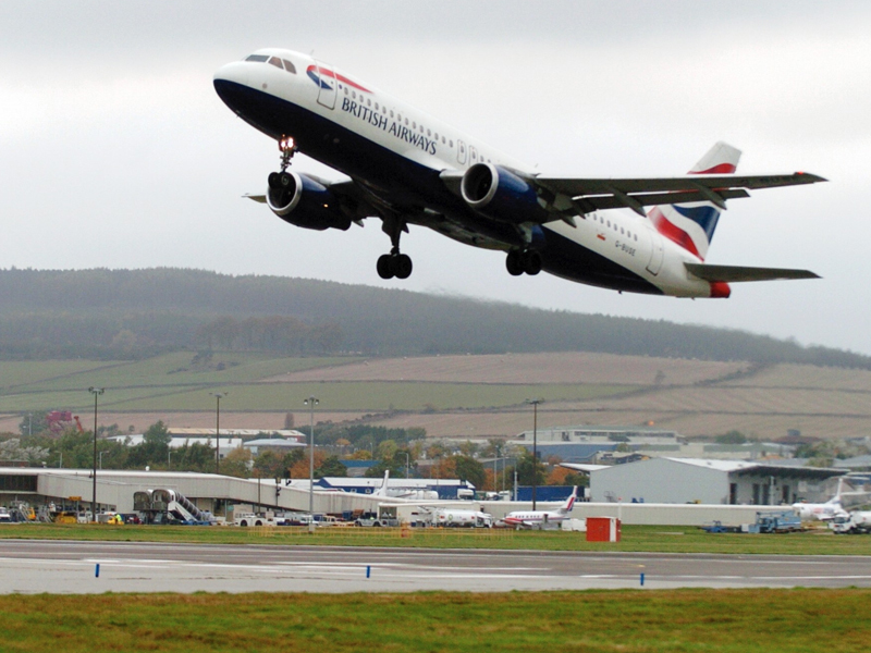 A BA flight taking off  from Aberdeen Airport