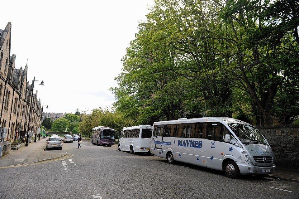 Coaches parked on Ardross Street in Inverness