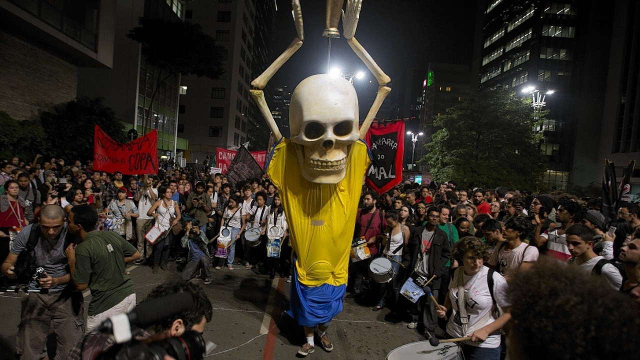 Hundreds of demonstrators protest against money spent on the World Cup preparations in Sao Paulo, Brazil,