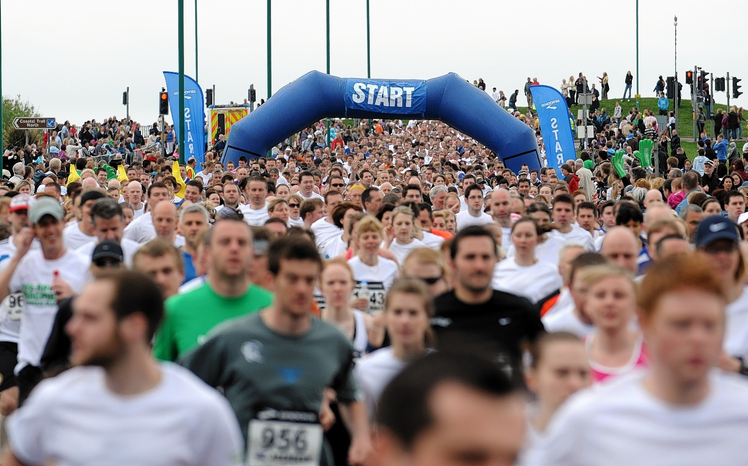 Runners taking part in the Baker Hughes 10k race at Aberdeen Beach on Sunday