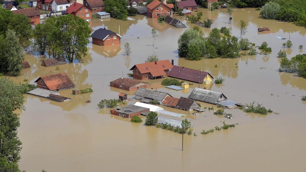 an aerial view of the flooded area near the Bosnian town of Brcko along the river Sava, 200 kms north of Bosnian capital of Sarajevo