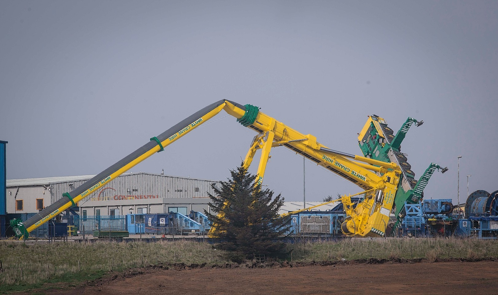 The collapsed Crane at Peterhead's Dales Industrial Estate