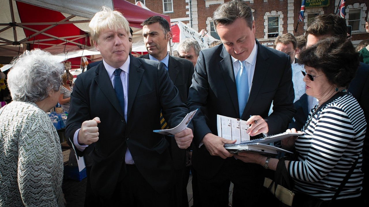 Prime Minister David Cameron and Mayor of London Boris Johnson as they speak with shoppers at Newark market ahead of the by-election which is due on June 5