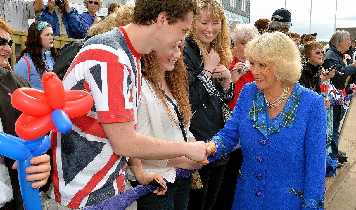 The Duchess of Cornwall  meets people in the crowd during a visit to the Hector Quay Museum in Pictou county, Nova Scotia, at the start of their Royal trip to Canada