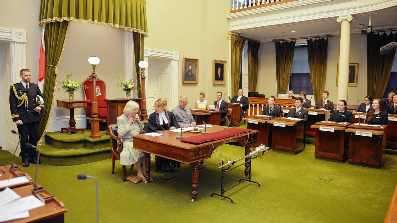 The Prince of Wales and the Duchess of Cornwall attend a youth Parliament at the Legislative Building in Charlottetown Prince Edward island, on the third day of their Royal trip to Canada