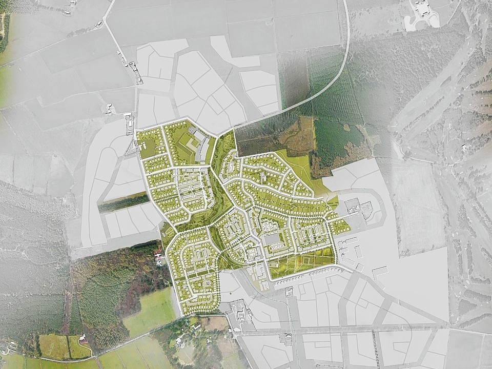 An outline of the planned development area at Countesswells near Aberdeen