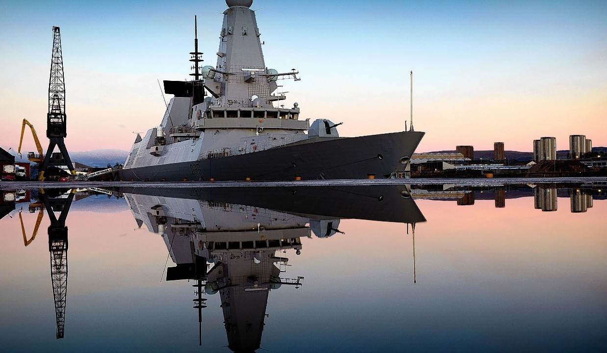 HMS Defender alongside Glasgow, her affiliated city by L(Phot) Will Haigh which won the Navy News Award in the annual Peregrine Trophy awards.