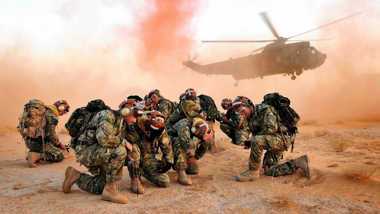 Royal Naval personnel from 845 Naval Air Squadron deployed to Aqaba, Jordan to conduct Environmental Training (ET) and Pre-Deployment Training (PDT) during Exercise Pashtun Commando 2013 by POA(Phot) Mez Merrill taken from his portfolio which earned him the Peregrine Trophy.