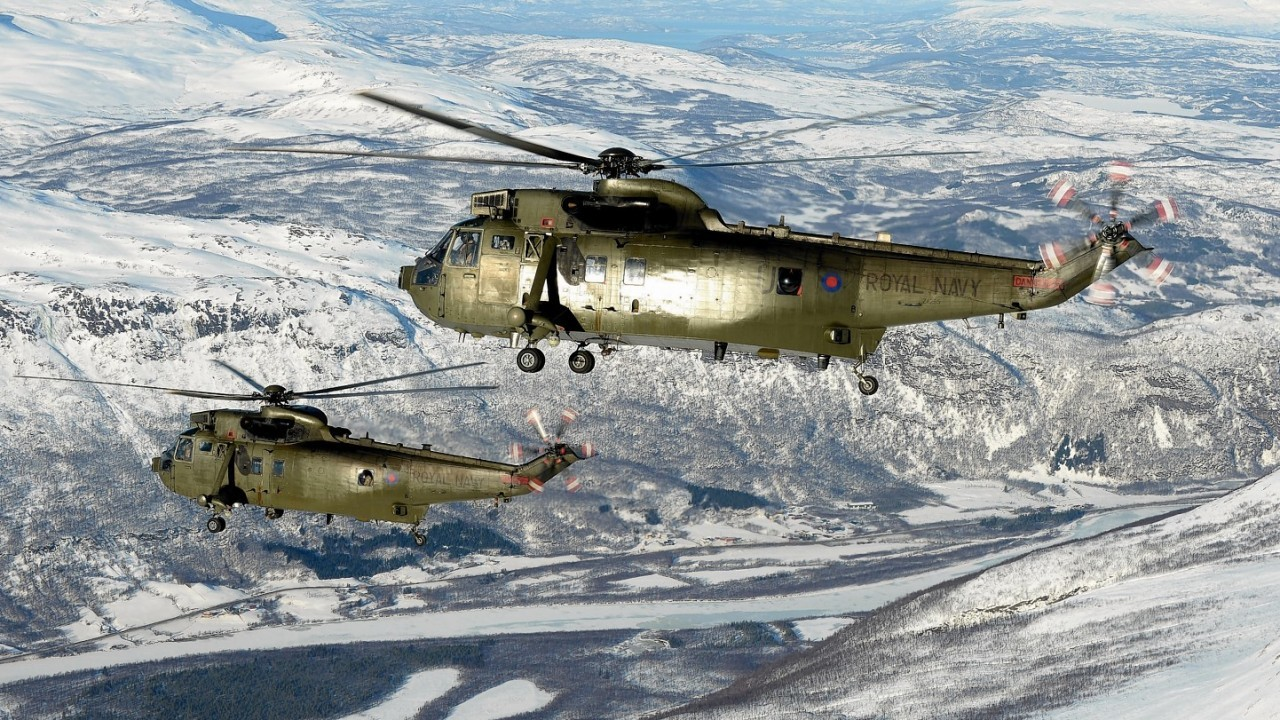 Royal Navy SeaKIng Mk4 helicopters from 845 Naval Air Squadron operating in northern Norway by POA(Phot) Mez Merrill taken from his portfolio which earned him the Peregrine Trophy.
