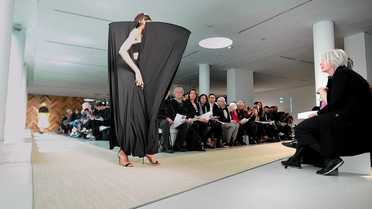 Models wear designs by Ge Bai during the Royal College of Art's Graduate Fashion show at the Royal College of Art, London Show