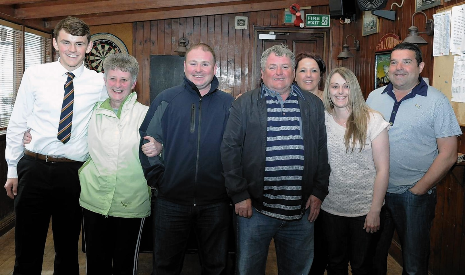 The family and friends of the fishermen found at sea. Pictured in the Harbour Bar, Gourdon are from left: Ritchie Irvine, Marion Irvine, Brian Irvine, David Irvine, Debbie Dorward, Michelle McKenzie and  Bruce Dorward