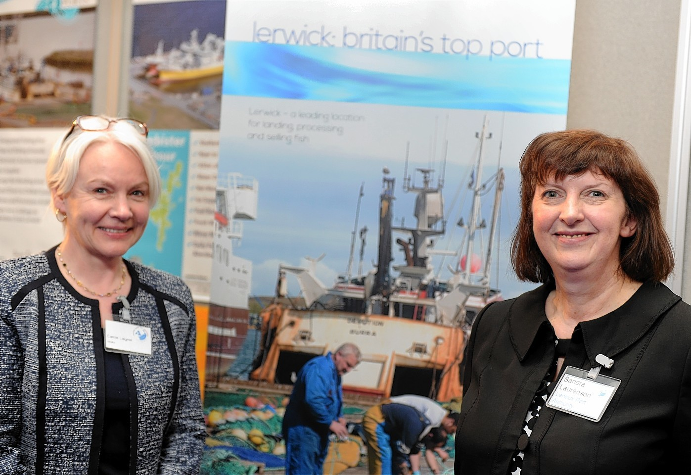 The Scottish fishing exhibition at AECC, Aberdeen.  In the picture are Carole Laignel, Shetland seafood centre, left and Sandra Laurenson, chief executive, Lerwick Port authority.