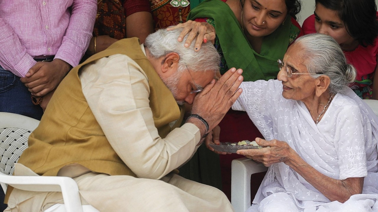 90-year-old Hiraben blesses her son and India's next prime minister Narendra Modi at her home in Gandhinagar, in the western Indian state of Gujarat