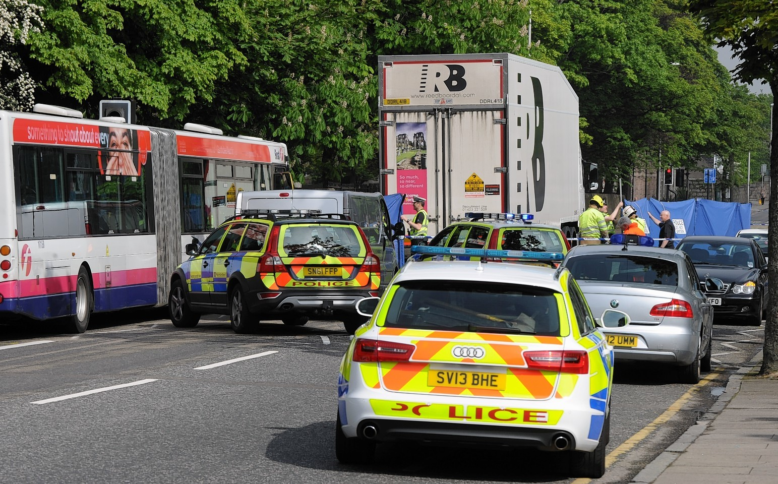 Police at scene of fatal lorry collision that killed Karen Gillanders