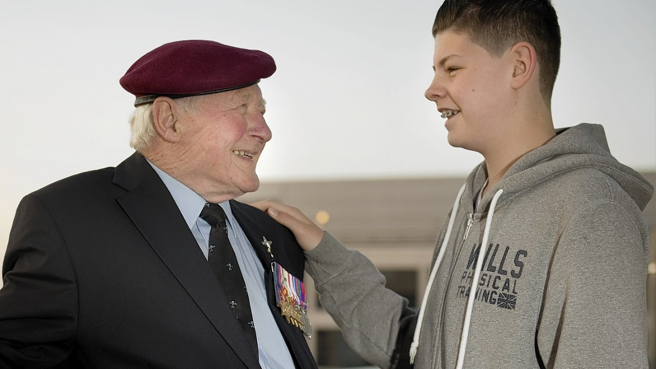 Jim Knox aged 89 from Upminster, at Gatwick airport with his 14 year old great grandson Jack Reynolds before they travelled to Monte Cassino in southern Italy. Jim is attending the historic 70th commemoration, which will also be attended by Prince Harry, joining with Second World War veterans from across the world to pay their respects to fallen comrades at official ceremonies around Monte Cassino