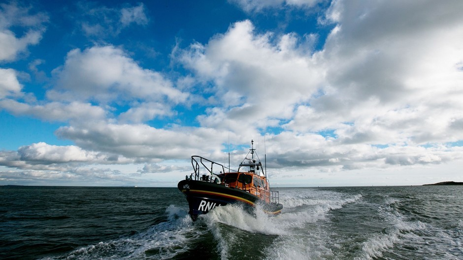 The lifeboat crew found the man who had been stranded all night