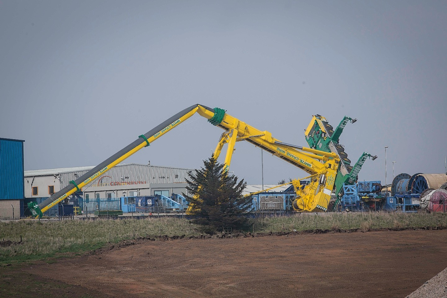 The crane which collapsed in Peterhead earlier this month.