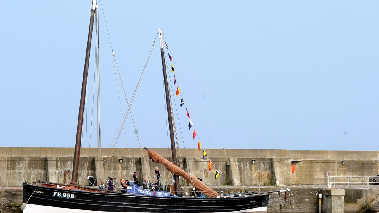 Scottish Fisheries Museum Boats Club, the 112 year old, Reaper the last Scottish Herring Drifter visits Stonehaven