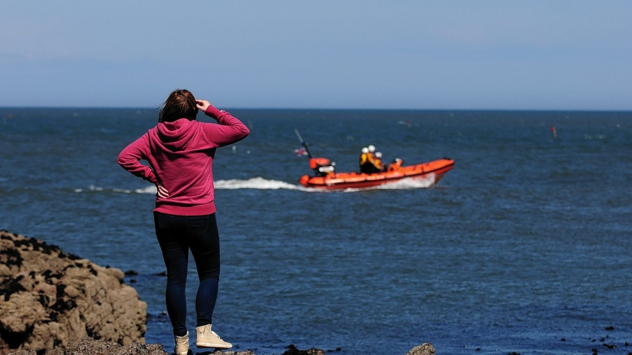 An RNLI lifeboat as the search continues on the east coast of north sea near Gourdon, Aberdeenshire