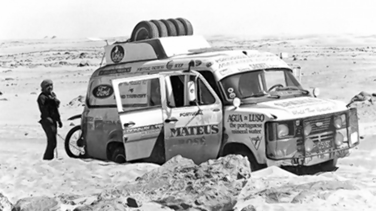 Ford Transit van which covered 7,500 miles of North African desert as the model is approaching its 50th anniversary
