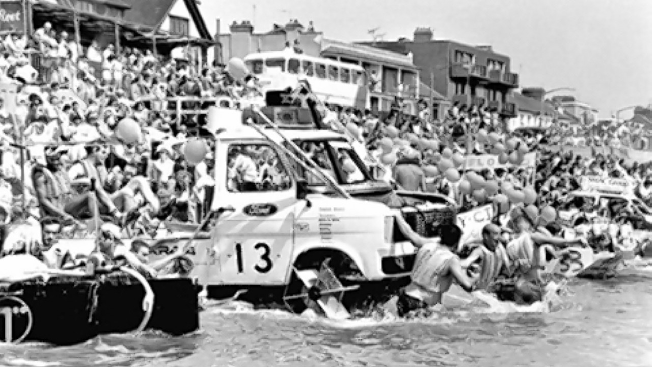 Ford Transit van built by Ford engineers to take part in the Maldon raft race in Essex, as the Ford Transit van is approaching its 50th anniversary