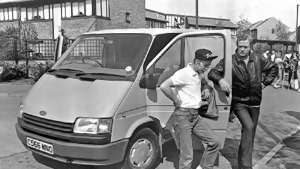 Michael Caine (right) in the Fourth Protocol using a Ford Transit van as the model is approaching its 50th anniversary