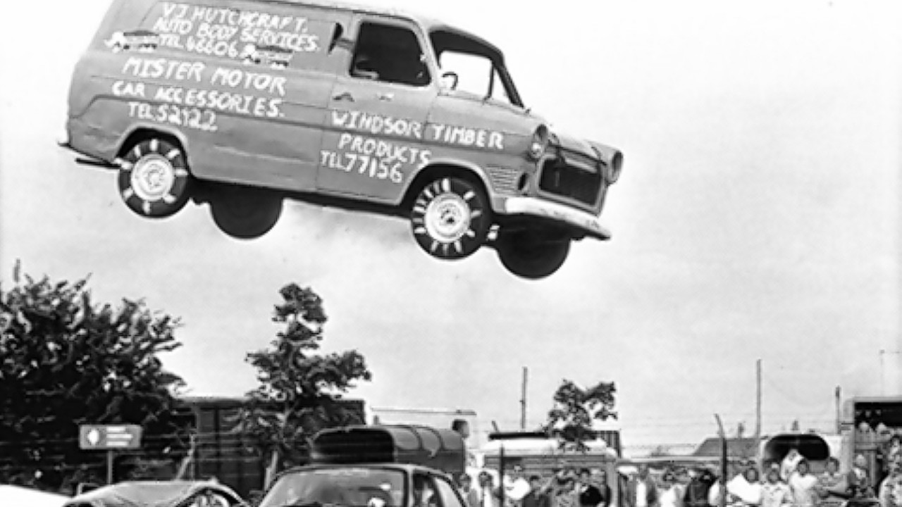 Stuntman Steve Matthews using his Transit to leap over 15 old cars the only modifications included removing the windows and gaffer taping the doors and bonnet, as the model is approaching its 50th anniversary