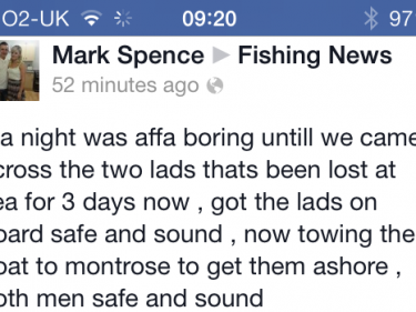 Facebook post by Mark Spence about finding the missing fishermen