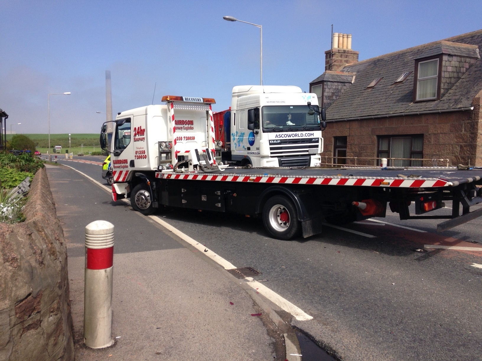 Crash between a car and lorry at Boddam