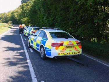 The scene of the crash near Oldmeldrum