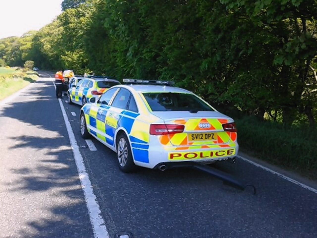 Police on the scene of a motorcycle crash on the A947 near Oldmeldrum last Friday
