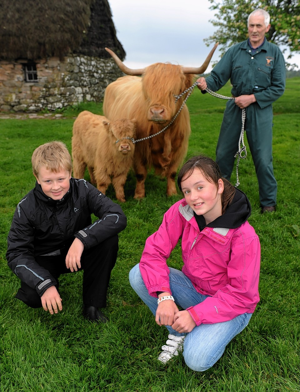 'Beyond the Battlefield' conservation activities preview.  Pictured from left,  Alexander Thom,  Alexander Webster and Iona Pettigrew, all 10 and from Glenurquhart Primary School, Colin Paterson, farmer with Julie and Eva and Richard Ridgwell