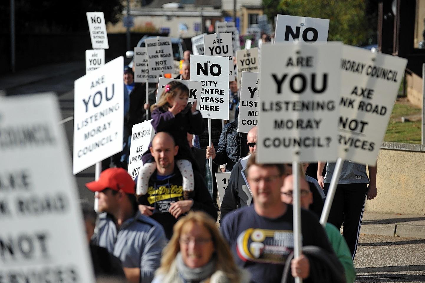 Elgin link road protest