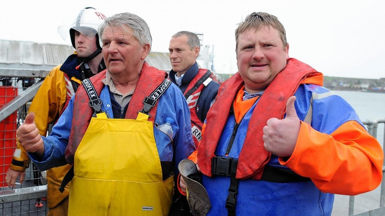 The fishermen found at sea pictured in the Harbour at Montrose