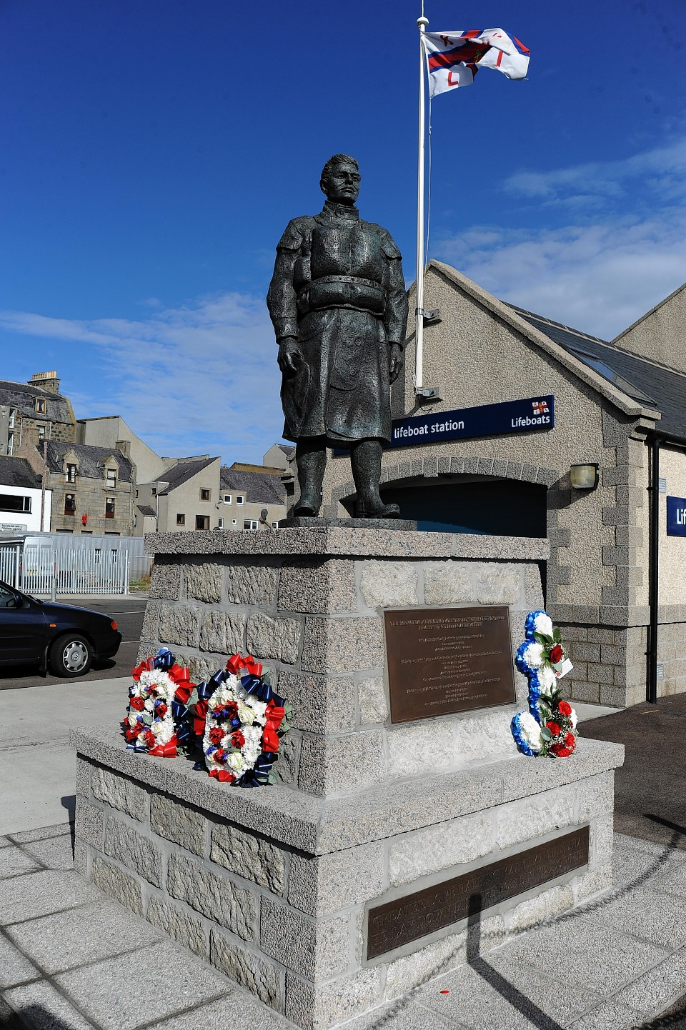 The memorial statue at Fraserburgh Lifeboat Station.
