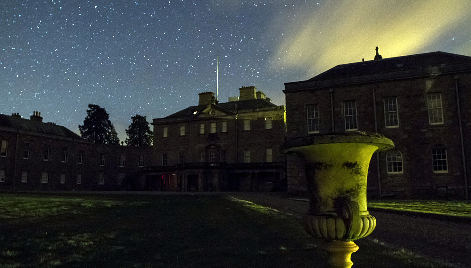 Haddo House at night by Cain Scrimgeour.