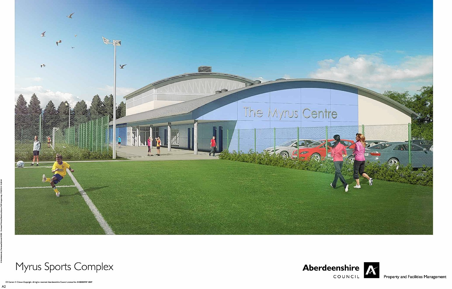 Artist impressions of the planned Myrus Sports Complex