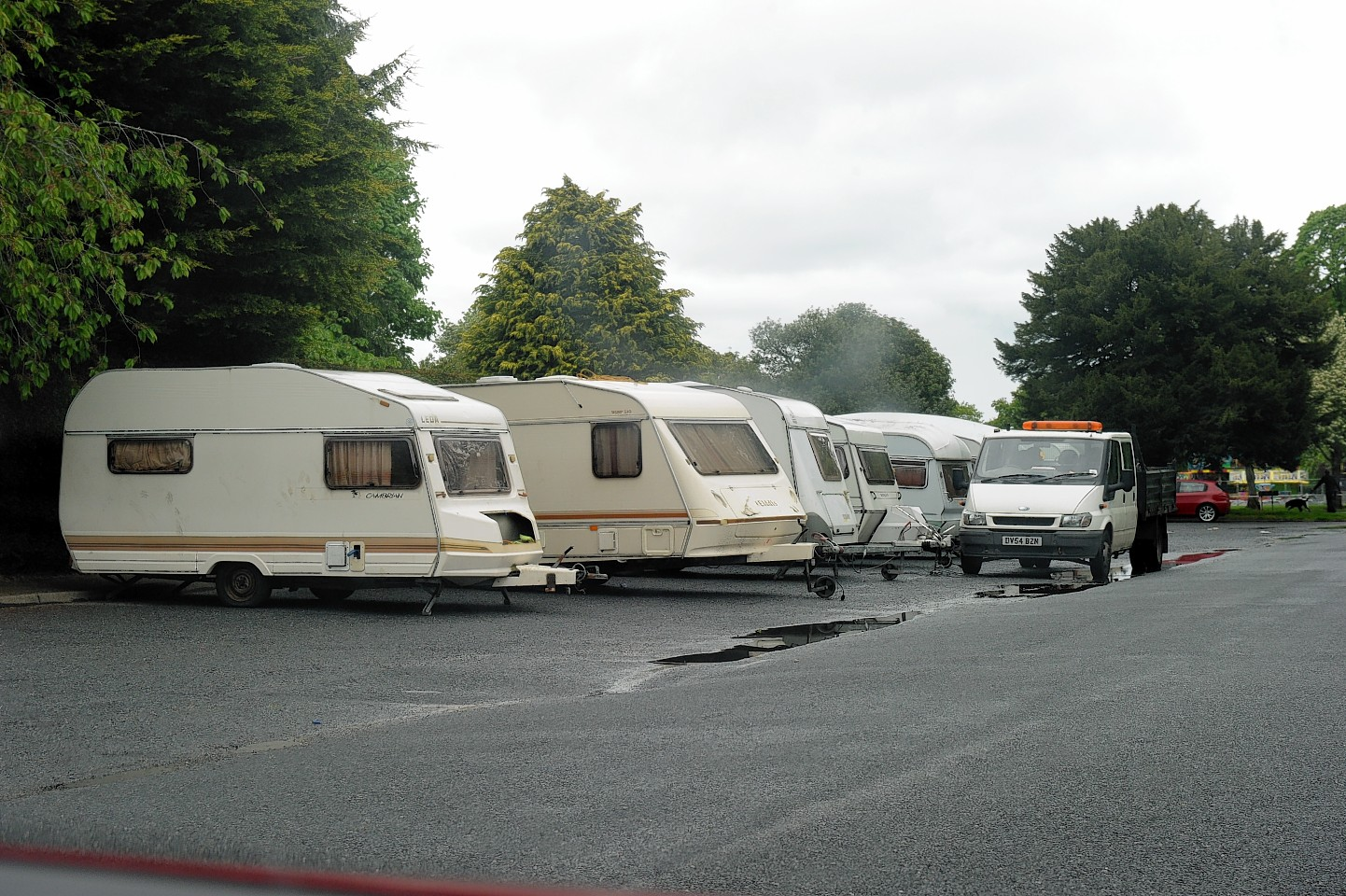 Travellers parked in Bught Park, Inverness