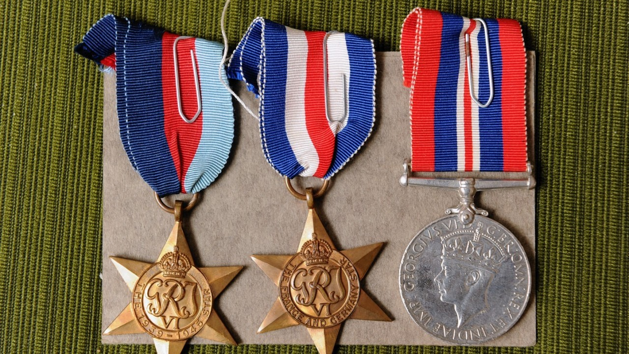 Mr Grant's medals for his effort in the European assault
