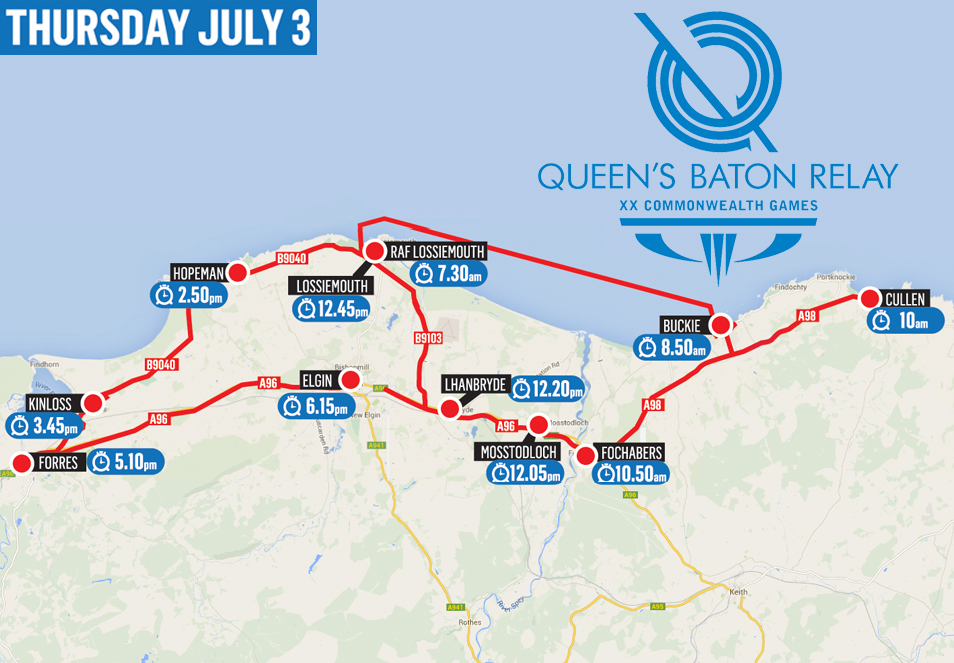 Moray Baton Relay route