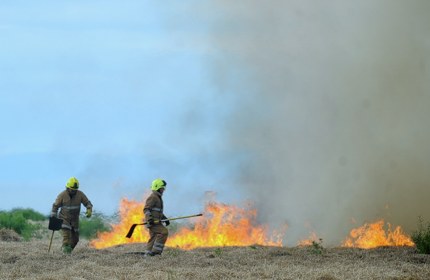 The fire began in this hayfield near Rathven