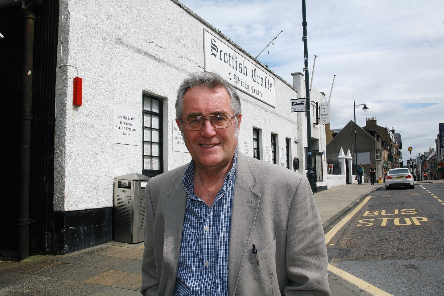 Councillor Brian Murphy outside the old Scottish Crafts and Whisky Centre